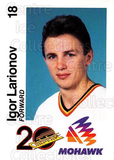 1989-90 Vancouver Canucks Mohawk #8 Igor Larionov<br/>1 In Stock - $3.00 each - <a href=https://centericecollectibles.foxycart.com/cart?name=1989-90%20Vancouver%20Canucks%20Mohawk%20%238%20Igor%20Larionov...&quantity_max=1&price=$3.00&code=20585 class=foxycart> Buy it now! </a>