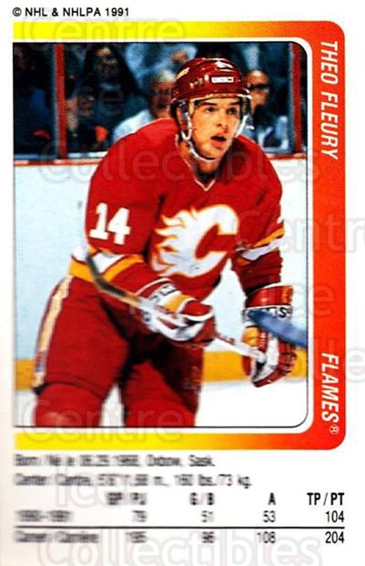 1991-92 Panini Stickers #51 Theo Fleury<br/>7 In Stock - $1.00 each - <a href=https://centericecollectibles.foxycart.com/cart?name=1991-92%20Panini%20Stickers%20%2351%20Theo%20Fleury...&quantity_max=7&price=$1.00&code=205989 class=foxycart> Buy it now! </a>