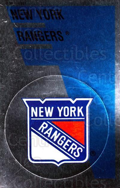 1991-92 Panini Stickers #166 New York Rangers<br/>7 In Stock - $1.00 each - <a href=https://centericecollectibles.foxycart.com/cart?name=1991-92%20Panini%20Stickers%20%23166%20New%20York%20Ranger...&quantity_max=7&price=$1.00&code=206001 class=foxycart> Buy it now! </a>