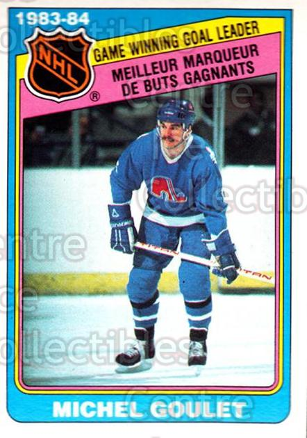 1984-85 O-Pee-Chee #384 Michel Goulet<br/>9 In Stock - $1.00 each - <a href=https://centericecollectibles.foxycart.com/cart?name=1984-85%20O-Pee-Chee%20%23384%20Michel%20Goulet...&quantity_max=9&price=$1.00&code=206519 class=foxycart> Buy it now! </a>