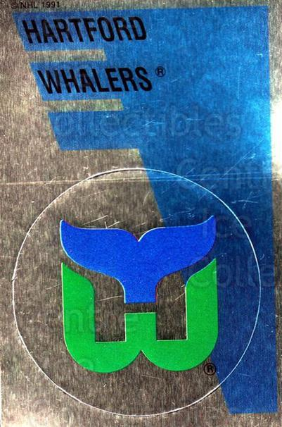 1991-92 Panini Stickers #161 Hartford Whalers<br/>6 In Stock - $1.00 each - <a href=https://centericecollectibles.foxycart.com/cart?name=1991-92%20Panini%20Stickers%20%23161%20Hartford%20Whaler...&quantity_max=6&price=$1.00&code=206797 class=foxycart> Buy it now! </a>
