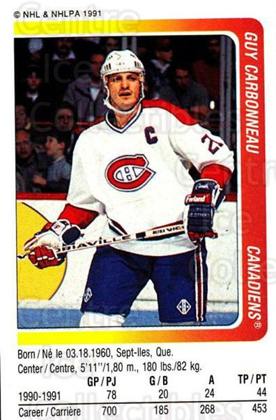 1991-92 Panini Stickers #197 Guy Carbonneau<br/>6 In Stock - $1.00 each - <a href=https://centericecollectibles.foxycart.com/cart?name=1991-92%20Panini%20Stickers%20%23197%20Guy%20Carbonneau...&quantity_max=6&price=$1.00&code=207376 class=foxycart> Buy it now! </a>