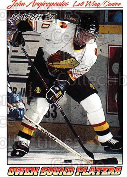 1995-96 Slapshot #291 John Argiropoulos<br/>4 In Stock - $2.00 each - <a href=https://centericecollectibles.foxycart.com/cart?name=1995-96%20Slapshot%20%23291%20John%20Argiropoul...&quantity_max=4&price=$2.00&code=207444 class=foxycart> Buy it now! </a>