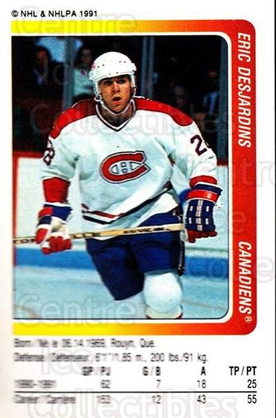 1991-92 Panini Stickers #189 Eric Desjardins<br/>7 In Stock - $1.00 each - <a href=https://centericecollectibles.foxycart.com/cart?name=1991-92%20Panini%20Stickers%20%23189%20Eric%20Desjardins...&quantity_max=7&price=$1.00&code=207490 class=foxycart> Buy it now! </a>