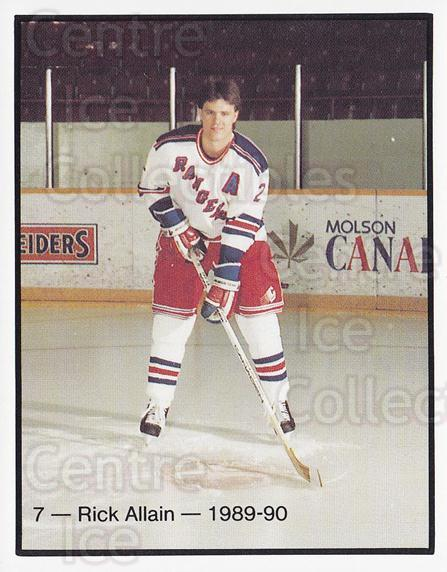1989-90 Kitchener Rangers #7 Rick Allain<br/>4 In Stock - $3.00 each - <a href=https://centericecollectibles.foxycart.com/cart?name=1989-90%20Kitchener%20Rangers%20%237%20Rick%20Allain...&quantity_max=4&price=$3.00&code=20761 class=foxycart> Buy it now! </a>