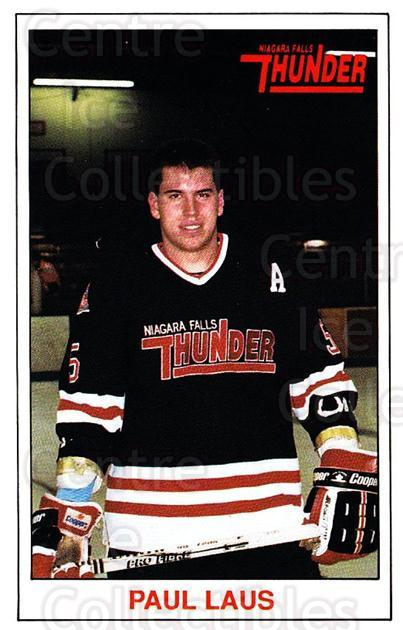 1989-90 Niagara Falls Thunder #9 Paul Laus<br/>6 In Stock - $3.00 each - <a href=https://centericecollectibles.foxycart.com/cart?name=1989-90%20Niagara%20Falls%20Thunder%20%239%20Paul%20Laus...&quantity_max=6&price=$3.00&code=20824 class=foxycart> Buy it now! </a>
