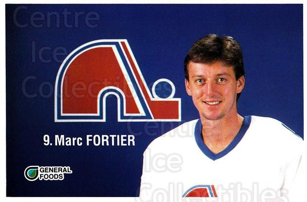 1989-90 Quebec Nordiques General Foods #8 Marc Fortier<br/>1 In Stock - $3.00 each - <a href=https://centericecollectibles.foxycart.com/cart?name=1989-90%20Quebec%20Nordiques%20General%20Foods%20%238%20Marc%20Fortier...&quantity_max=1&price=$3.00&code=20842 class=foxycart> Buy it now! </a>