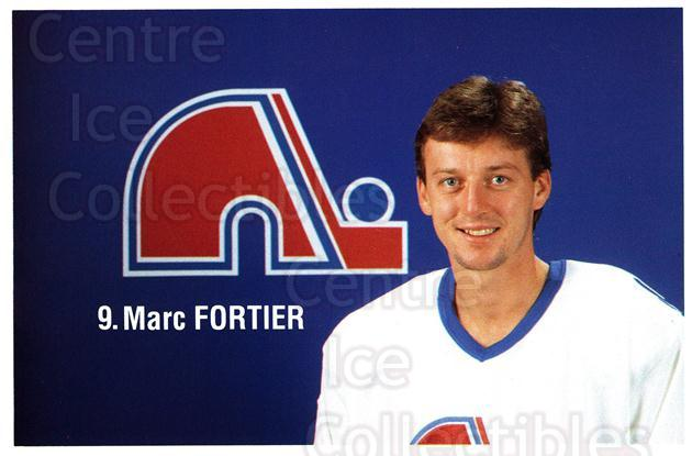 1989-90 Quebec Nordiques Team Issue #11 Marc Fortier<br/>4 In Stock - $3.00 each - <a href=https://centericecollectibles.foxycart.com/cart?name=1989-90%20Quebec%20Nordiques%20Team%20Issue%20%2311%20Marc%20Fortier...&quantity_max=4&price=$3.00&code=20846 class=foxycart> Buy it now! </a>