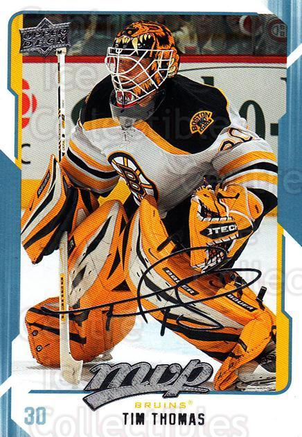 2008-09 Upper Deck MVP #26 Tim Thomas<br/>1 In Stock - $1.00 each - <a href=https://centericecollectibles.foxycart.com/cart?name=2008-09%20Upper%20Deck%20MVP%20%2326%20Tim%20Thomas...&quantity_max=1&price=$1.00&code=208842 class=foxycart> Buy it now! </a>