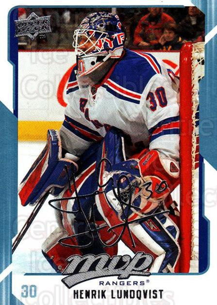 2008-09 Upper Deck MVP #196 Henrik Lundqvist<br/>3 In Stock - $2.00 each - <a href=https://centericecollectibles.foxycart.com/cart?name=2008-09%20Upper%20Deck%20MVP%20%23196%20Henrik%20Lundqvis...&quantity_max=3&price=$2.00&code=209012 class=foxycart> Buy it now! </a>