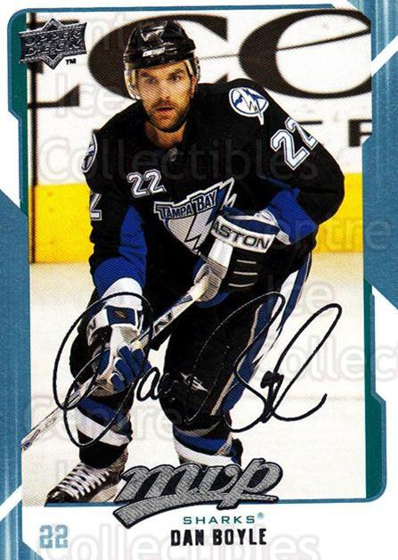 2008-09 Upper Deck MVP #249 Dan Boyle<br/>6 In Stock - $1.00 each - <a href=https://centericecollectibles.foxycart.com/cart?name=2008-09%20Upper%20Deck%20MVP%20%23249%20Dan%20Boyle...&quantity_max=6&price=$1.00&code=209065 class=foxycart> Buy it now! </a>