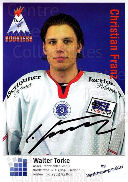 2003-04 German Iserlohn Roosters Postcards #9 Christian Franz<br/>2 In Stock - $3.00 each - <a href=https://centericecollectibles.foxycart.com/cart?name=2003-04%20German%20Iserlohn%20Roosters%20Postcards%20%239%20Christian%20Franz...&quantity_max=2&price=$3.00&code=209423 class=foxycart> Buy it now! </a>