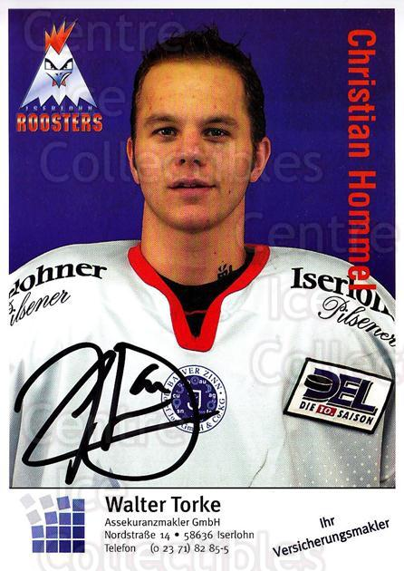 2003-04 German Iserlohn Roosters Postcards #14 Christian Hommel<br/>1 In Stock - $3.00 each - <a href=https://centericecollectibles.foxycart.com/cart?name=2003-04%20German%20Iserlohn%20Roosters%20Postcards%20%2314%20Christian%20Homme...&quantity_max=1&price=$3.00&code=209426 class=foxycart> Buy it now! </a>