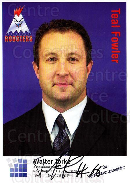 2003-04 German Iserlohn Roosters Postcards #8 Teal Fowler<br/>2 In Stock - $3.00 each - <a href=https://centericecollectibles.foxycart.com/cart?name=2003-04%20German%20Iserlohn%20Roosters%20Postcards%20%238%20Teal%20Fowler...&quantity_max=2&price=$3.00&code=209438 class=foxycart> Buy it now! </a>