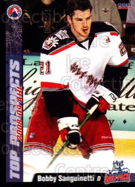 2008-09 AHL Top Prospects #12 Bob Sanguinetti<br/>5 In Stock - $3.00 each - <a href=https://centericecollectibles.foxycart.com/cart?name=2008-09%20AHL%20Top%20Prospects%20%2312%20Bob%20Sanguinetti...&quantity_max=5&price=$3.00&code=209950 class=foxycart> Buy it now! </a>