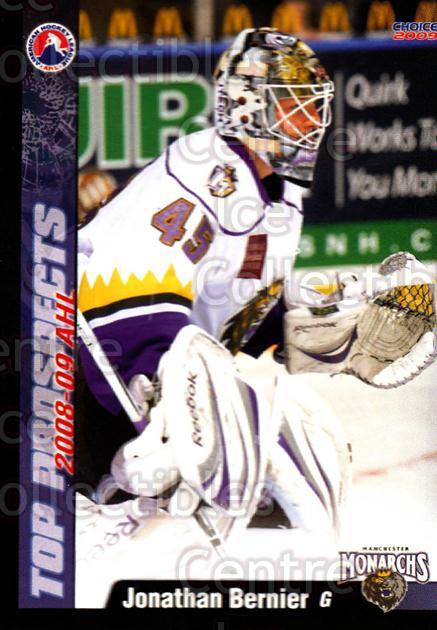 2008-09 AHL Top Prospects #22 Jonathan Bernier<br/>5 In Stock - $3.00 each - <a href=https://centericecollectibles.foxycart.com/cart?name=2008-09%20AHL%20Top%20Prospects%20%2322%20Jonathan%20Bernie...&quantity_max=5&price=$3.00&code=209960 class=foxycart> Buy it now! </a>