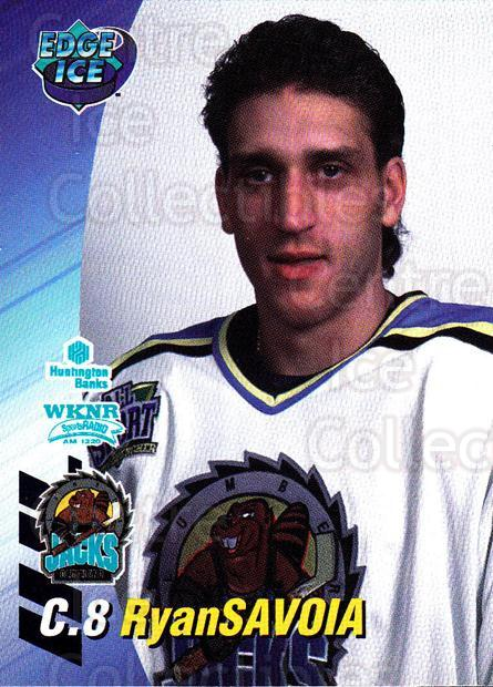 1995-96 Cleveland Lumberjacks #23 Ryan Savoia<br/>2 In Stock - $3.00 each - <a href=https://centericecollectibles.foxycart.com/cart?name=1995-96%20Cleveland%20Lumberjacks%20%2323%20Ryan%20Savoia...&quantity_max=2&price=$3.00&code=210699 class=foxycart> Buy it now! </a>