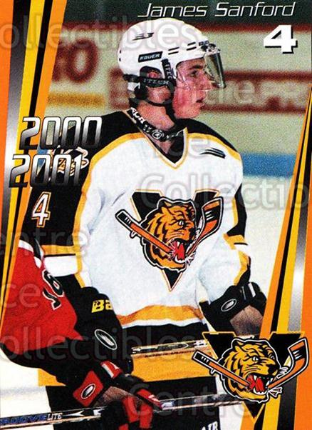 2000-01 Victoriaville Tigres #1 James Sanford<br/>2 In Stock - $3.00 each - <a href=https://centericecollectibles.foxycart.com/cart?name=2000-01%20Victoriaville%20Tigres%20%231%20James%20Sanford...&quantity_max=2&price=$3.00&code=210737 class=foxycart> Buy it now! </a>
