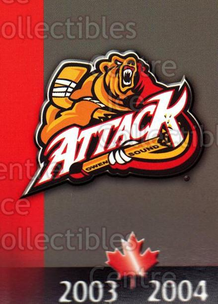 2003-04 Owen Sound Attack #25 Header Card, Checklist<br/>3 In Stock - $3.00 each - <a href=https://centericecollectibles.foxycart.com/cart?name=2003-04%20Owen%20Sound%20Attack%20%2325%20Header%20Card,%20Ch...&price=$3.00&code=212245 class=foxycart> Buy it now! </a>