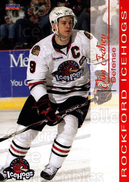 2007-08 Rockford Ice Hogs #11 Jim Fahey<br/>5 In Stock - $3.00 each - <a href=https://centericecollectibles.foxycart.com/cart?name=2007-08%20Rockford%20Ice%20Hogs%20%2311%20Jim%20Fahey...&quantity_max=5&price=$3.00&code=212283 class=foxycart> Buy it now! </a>