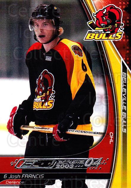 2003-04 Belleville Bulls #1 Josh Francis<br/>2 In Stock - $3.00 each - <a href=https://centericecollectibles.foxycart.com/cart?name=2003-04%20Belleville%20Bulls%20%231%20Josh%20Francis...&quantity_max=2&price=$3.00&code=212381 class=foxycart> Buy it now! </a>