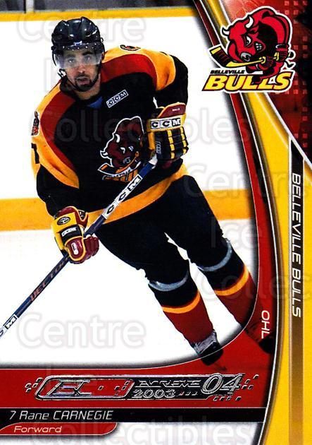 2003-04 Belleville Bulls #2 Rane Carnegie<br/>1 In Stock - $3.00 each - <a href=https://centericecollectibles.foxycart.com/cart?name=2003-04%20Belleville%20Bulls%20%232%20Rane%20Carnegie...&quantity_max=1&price=$3.00&code=212382 class=foxycart> Buy it now! </a>