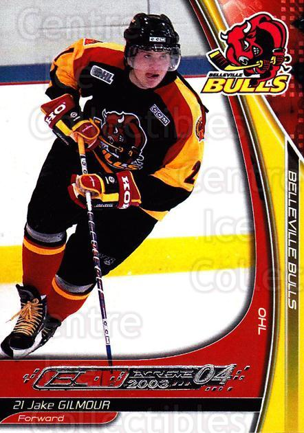 2003-04 Belleville Bulls #9 Jake Gilmour<br/>1 In Stock - $3.00 each - <a href=https://centericecollectibles.foxycart.com/cart?name=2003-04%20Belleville%20Bulls%20%239%20Jake%20Gilmour...&quantity_max=1&price=$3.00&code=212389 class=foxycart> Buy it now! </a>