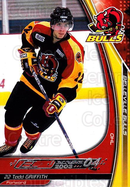 2003-04 Belleville Bulls #10 Todd Griffith<br/>2 In Stock - $3.00 each - <a href=https://centericecollectibles.foxycart.com/cart?name=2003-04%20Belleville%20Bulls%20%2310%20Todd%20Griffith...&price=$3.00&code=212390 class=foxycart> Buy it now! </a>
