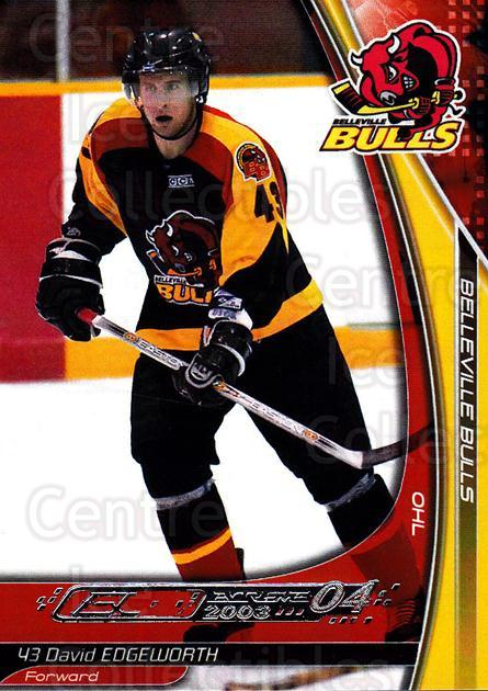 2003-04 Belleville Bulls #14 David Edgeworth<br/>2 In Stock - $3.00 each - <a href=https://centericecollectibles.foxycart.com/cart?name=2003-04%20Belleville%20Bulls%20%2314%20David%20Edgeworth...&price=$3.00&code=212394 class=foxycart> Buy it now! </a>