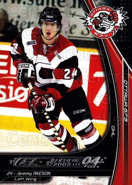 2003-04 Ottawa 67s #16 Jeremy Akeson<br/>2 In Stock - $3.00 each - <a href=https://centericecollectibles.foxycart.com/cart?name=2003-04%20Ottawa%2067s%20%2316%20Jeremy%20Akeson...&quantity_max=2&price=$3.00&code=212418 class=foxycart> Buy it now! </a>