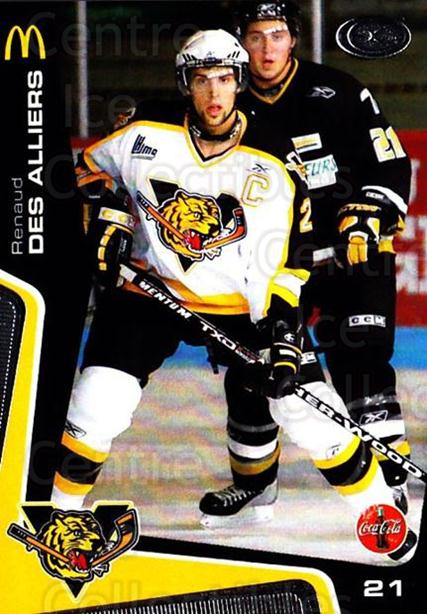 2005-06 Victoriaville Tigres #10 Renaud Des-Alliers<br/>3 In Stock - $3.00 each - <a href=https://centericecollectibles.foxycart.com/cart?name=2005-06%20Victoriaville%20Tigres%20%2310%20Renaud%20Des-Alli...&quantity_max=3&price=$3.00&code=212661 class=foxycart> Buy it now! </a>