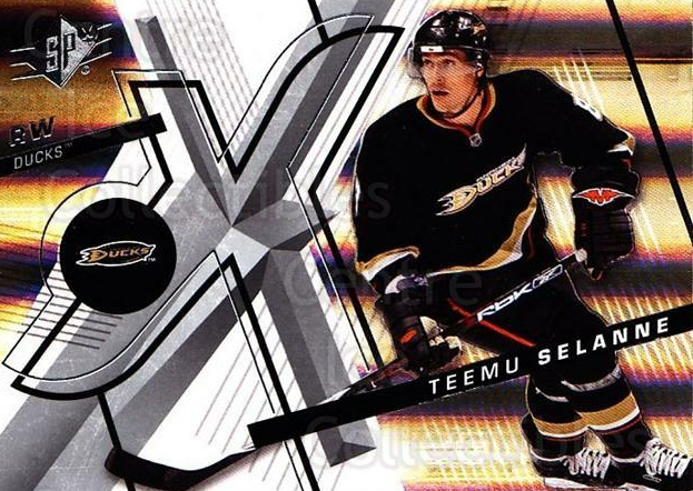 2008-09 Spx #100 Teemu Selanne<br/>1 In Stock - $2.00 each - <a href=https://centericecollectibles.foxycart.com/cart?name=2008-09%20Spx%20%23100%20Teemu%20Selanne...&quantity_max=1&price=$2.00&code=213337 class=foxycart> Buy it now! </a>