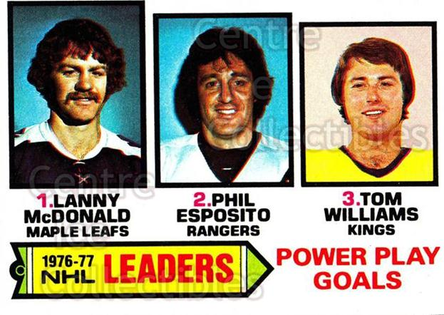1977-78 Topps #5 Phil Esposito, Lanny McDonald, Tom Williams<br/>7 In Stock - $2.00 each - <a href=https://centericecollectibles.foxycart.com/cart?name=1977-78%20Topps%20%235%20Phil%20Esposito,%20...&quantity_max=7&price=$2.00&code=213548 class=foxycart> Buy it now! </a>