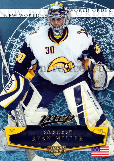 2007-08 Upper Deck MVP New World Order #4 Ryan Miller<br/>3 In Stock - $2.00 each - <a href=https://centericecollectibles.foxycart.com/cart?name=2007-08%20Upper%20Deck%20MVP%20New%20World%20Order%20%234%20Ryan%20Miller...&quantity_max=3&price=$2.00&code=213826 class=foxycart> Buy it now! </a>