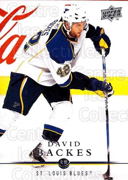 2008-09 Upper Deck #417 David Backes<br/>4 In Stock - $1.00 each - <a href=https://centericecollectibles.foxycart.com/cart?name=2008-09%20Upper%20Deck%20%23417%20David%20Backes...&quantity_max=4&price=$1.00&code=214269 class=foxycart> Buy it now! </a>
