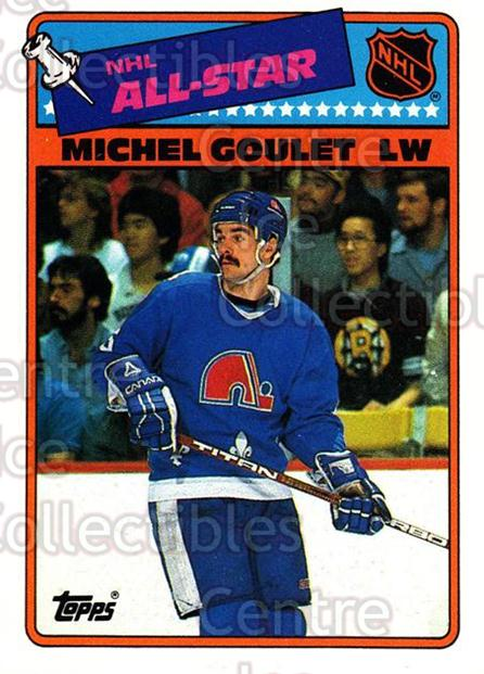 1988-89 Topps Stickers Insert #7 Michel Goulet<br/>7 In Stock - $2.00 each - <a href=https://centericecollectibles.foxycart.com/cart?name=1988-89%20Topps%20Stickers%20Insert%20%237%20Michel%20Goulet...&quantity_max=7&price=$2.00&code=21456 class=foxycart> Buy it now! </a>