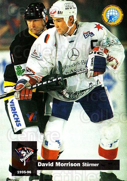 1995-96 German DEL #158 David Morrison<br/>2 In Stock - $2.00 each - <a href=https://centericecollectibles.foxycart.com/cart?name=1995-96%20German%20DEL%20%23158%20David%20Morrison...&quantity_max=2&price=$2.00&code=214619 class=foxycart> Buy it now! </a>
