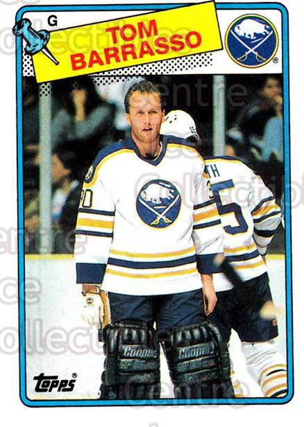 1988-89 Topps #107 Tom Barrasso<br/>5 In Stock - $1.00 each - <a href=https://centericecollectibles.foxycart.com/cart?name=1988-89%20Topps%20%23107%20Tom%20Barrasso...&price=$1.00&code=21465 class=foxycart> Buy it now! </a>