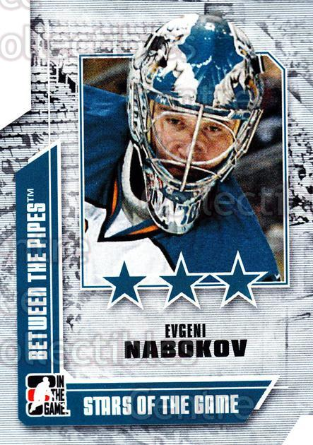 2008-09 Between The Pipes #60 Evgeni Nabokov<br/>13 In Stock - $1.00 each - <a href=https://centericecollectibles.foxycart.com/cart?name=2008-09%20Between%20The%20Pipes%20%2360%20Evgeni%20Nabokov...&quantity_max=13&price=$1.00&code=214769 class=foxycart> Buy it now! </a>