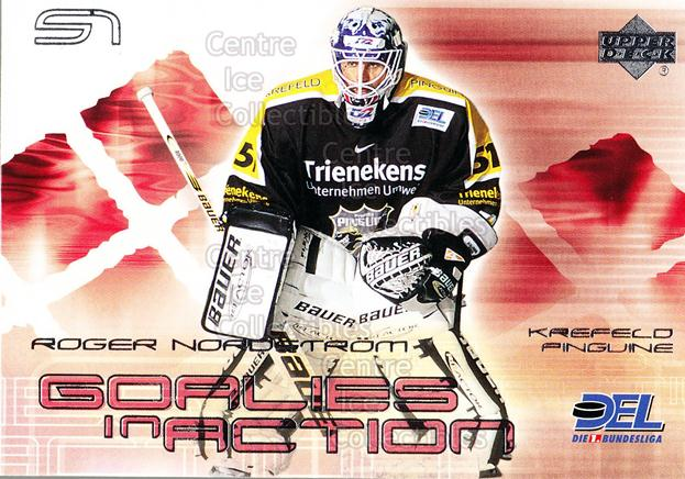 2001-02 German DEL Goalies in Action #6 Roger Nordstrom<br/>1 In Stock - $3.00 each - <a href=https://centericecollectibles.foxycart.com/cart?name=2001-02%20German%20DEL%20Goalies%20in%20Action%20%236%20Roger%20Nordstrom...&quantity_max=1&price=$3.00&code=214812 class=foxycart> Buy it now! </a>