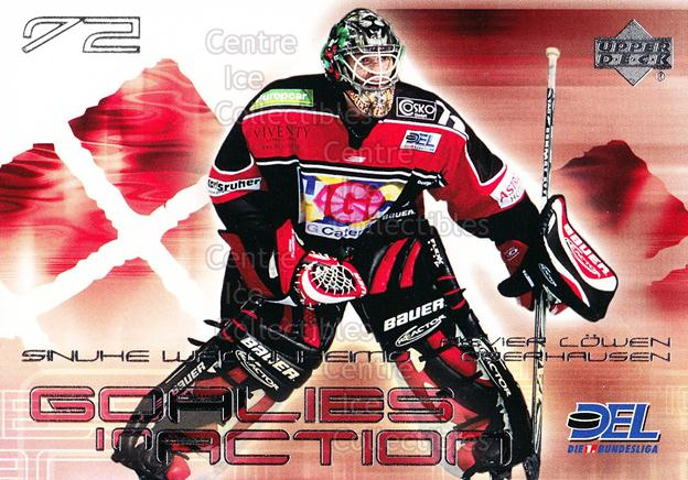 2001-02 German DEL Goalies in Action #10 Sinuhe Wallinheimo<br/>1 In Stock - $3.00 each - <a href=https://centericecollectibles.foxycart.com/cart?name=2001-02%20German%20DEL%20Goalies%20in%20Action%20%2310%20Sinuhe%20Wallinhe...&quantity_max=1&price=$3.00&code=214814 class=foxycart> Buy it now! </a>