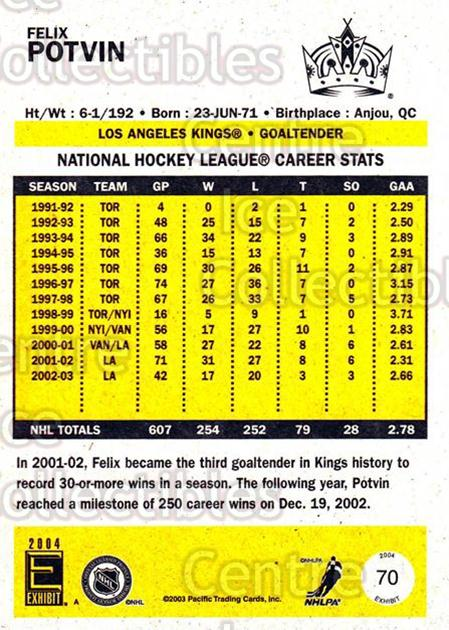 2003-04 Pacific Exhibit Yellow Backs #70 Felix Potvin<br/>3 In Stock - $1.00 each - <a href=https://centericecollectibles.foxycart.com/cart?name=2003-04%20Pacific%20Exhibit%20Yellow%20Backs%20%2370%20Felix%20Potvin...&quantity_max=3&price=$1.00&code=215166 class=foxycart> Buy it now! </a>