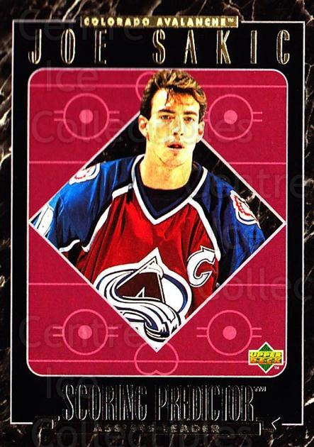 1995-96 Upper Deck Predictor Retail Redeemed #14 Joe Sakic<br/>10 In Stock - $3.00 each - <a href=https://centericecollectibles.foxycart.com/cart?name=1995-96%20Upper%20Deck%20Predictor%20Retail%20Redeemed%20%2314%20Joe%20Sakic...&price=$3.00&code=215514 class=foxycart> Buy it now! </a>