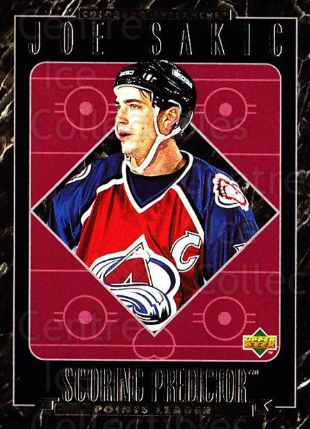 1995-96 Upper Deck Predictor Retail Redeemed #27 Joe Sakic<br/>12 In Stock - $3.00 each - <a href=https://centericecollectibles.foxycart.com/cart?name=1995-96%20Upper%20Deck%20Predictor%20Retail%20Redeemed%20%2327%20Joe%20Sakic...&price=$3.00&code=215521 class=foxycart> Buy it now! </a>
