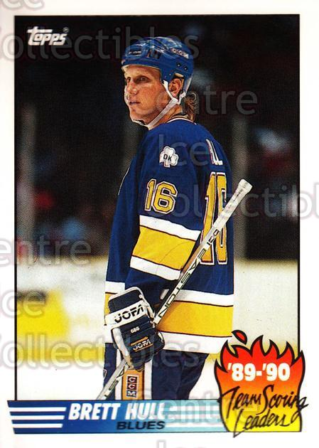 1990-91 Topps Team Scoring Leaders Tiffany #2 Brett Hull<br/>3 In Stock - $5.00 each - <a href=https://centericecollectibles.foxycart.com/cart?name=1990-91%20Topps%20Team%20Scoring%20Leaders%20Tiffany%20%232%20Brett%20Hull...&price=$5.00&code=216262 class=foxycart> Buy it now! </a>
