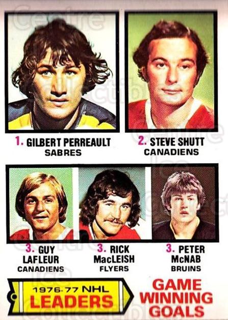 1977-78 O-pee-chee #7 Gilbert Perreault, Steve Shutt, Guy Lafleur, Rick MacLeish, Peter McNab<br/>1 In Stock - $5.00 each - <a href=https://centericecollectibles.foxycart.com/cart?name=1977-78%20O-pee-chee%20%237%20Gilbert%20Perreau...&price=$5.00&code=216961 class=foxycart> Buy it now! </a>