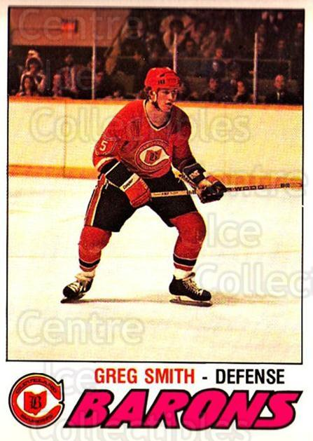 1977-78 O-pee-chee #269 Greg Smith<br/>1 In Stock - $2.00 each - <a href=https://centericecollectibles.foxycart.com/cart?name=1977-78%20O-pee-chee%20%23269%20Greg%20Smith...&quantity_max=1&price=$2.00&code=217223 class=foxycart> Buy it now! </a>