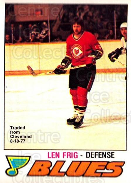 1977-78 O-pee-chee #384 Len Frig<br/>1 In Stock - $2.00 each - <a href=https://centericecollectibles.foxycart.com/cart?name=1977-78%20O-pee-chee%20%23384%20Len%20Frig...&price=$2.00&code=217338 class=foxycart> Buy it now! </a>