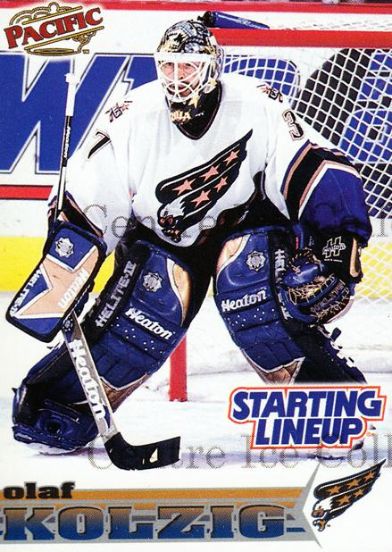1998 Kenner Starting Lineup Cards Pacific Extended Series #7 Olaf Kolzig<br/>10 In Stock - $5.00 each - <a href=https://centericecollectibles.foxycart.com/cart?name=1998%20Kenner%20Starting%20Lineup%20Cards%20Pacific%20Extended%20Series%20%237%20Olaf%20Kolzig...&quantity_max=10&price=$5.00&code=217511 class=foxycart> Buy it now! </a>