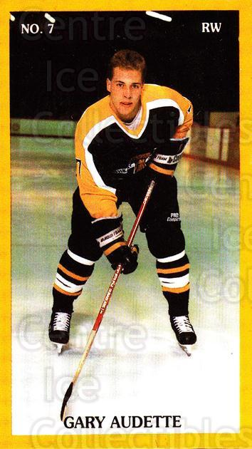 1989-90 Brandon Wheat Kings #17 Gary Audette<br/>1 In Stock - $3.00 each - <a href=https://centericecollectibles.foxycart.com/cart?name=1989-90%20Brandon%20Wheat%20Kings%20%2317%20Gary%20Audette...&quantity_max=1&price=$3.00&code=21879 class=foxycart> Buy it now! </a>